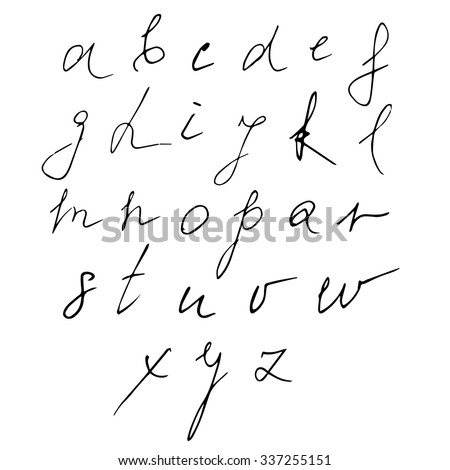 Hand drawn Alphabet made in Vector. Handwritten Letters on white background. Hand drawn calligraphy. Isolated.