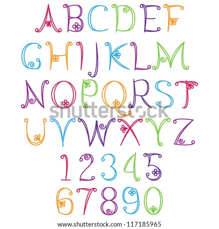 Girly Alphabet Fonts Matching LettersNumbers