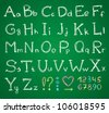 hand drawn alphabet on a green chalkboard - stock vector