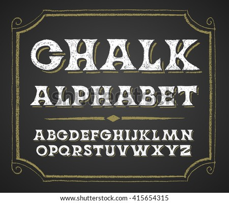 Hand drawn alphabet on chalkboard - stock vector