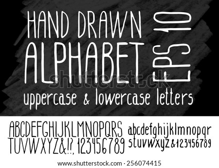 Hand drawn alphabet on graphic background. Uppercase and lowercase fonts. Vector letters and numerals - stock vector