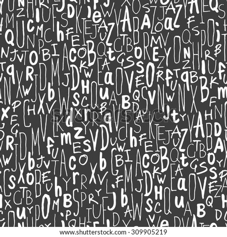 Hand-drawn Alphabet Seamless Pattern - stock vector