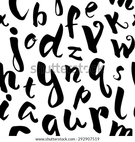 Hand drawn alphabet seamless pattern.Vector background