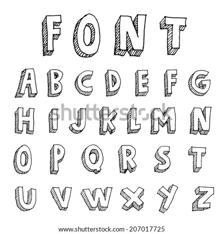 Hand drawn alphabet. vector - stock vector