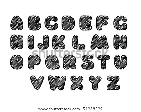 Hand drawn alphabet. Vector illustration. - stock vector