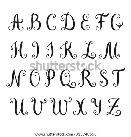 Hand drawn alphabet. Vector illustration. Brush painted letters. - stock vector