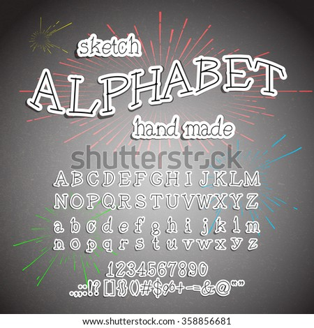 Hand drawn Alphabet. Vector Ink lettering font. Typographic design, Letters, Numbers, Symbols on Paper texture. Vector of Trendy Hipster Sunburst Design Elements - stock vector