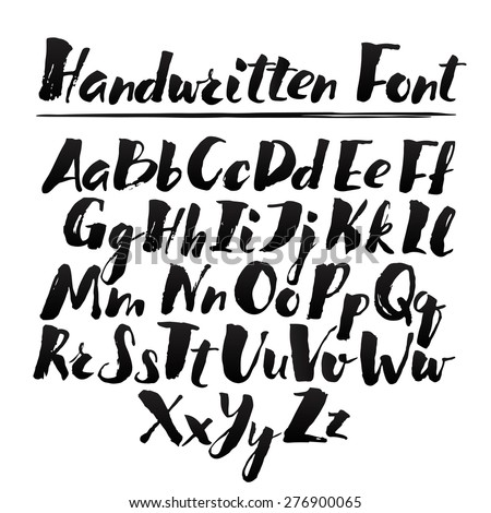 Hand drawn alphabet written with brush pen. Full version. - stock vector