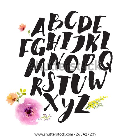 Hand drawn alphabet written with brush pen. Letters are decorated with watercolor flowers. V letter is missed here.   - stock vector