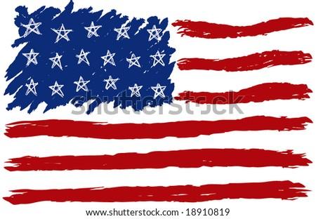 Hand Drawn American Flag - stock vector