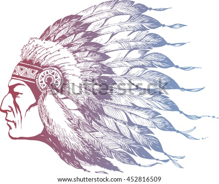 Hand drawn American Indian Chief in a Boho style - stock vector