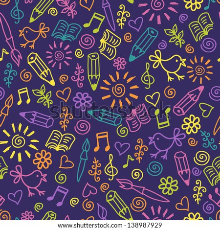 Hand drawn amusing cute flowers, birds and music pattern. Joyful endless background - stock vector