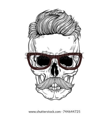 Hipster Skull Mustache Glasseswhite Background Tie Stock