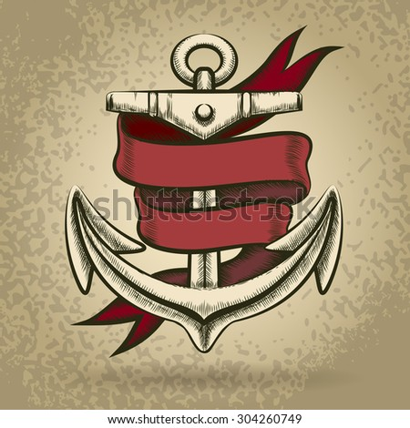 Hand drawn anchor with red ribbon. Engraving style. - stock vector