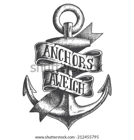 Hand Drawn Anchor with ribbon - stock vector