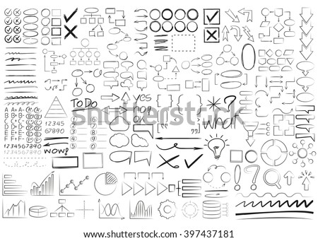 hand drawn and doodle elements, arrows, underlines, highlighter, diagram - stock vector
