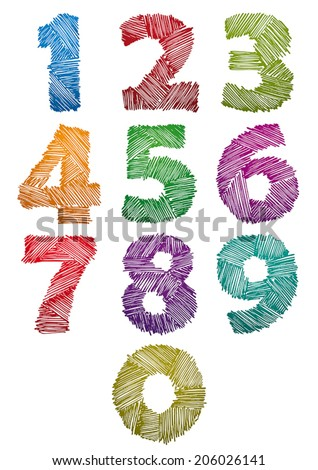 Hand drawn and sketched color bold numbers set, vector childish doddle style. - stock vector