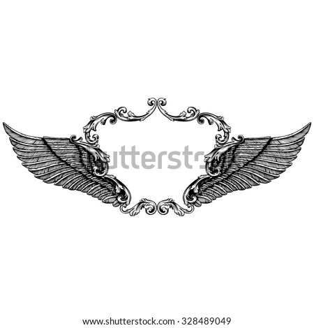 Hand drawn angel wings | illustration of a pair of angel or eagle wings spread - stock vector