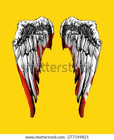 Hand drawn angel wings vector illustration - stock vector