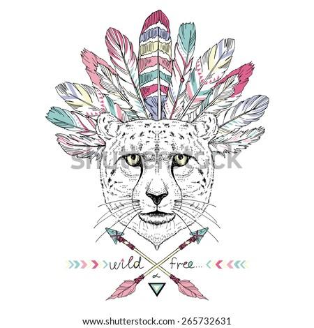 hand drawn animal illustration, cheetah aztec style, native american poster,  t-shirt