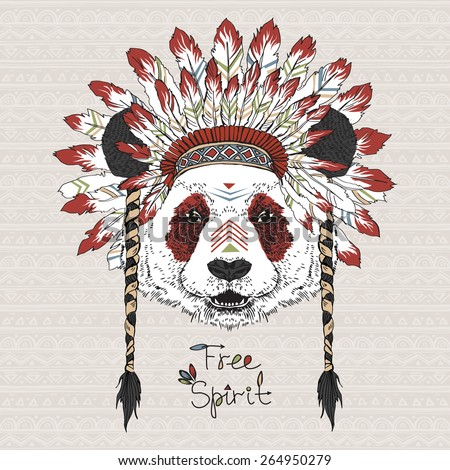 hand drawn animal illustration, panda cherokee in war bonnet, native american poster, tribal t-shirt print - stock vector