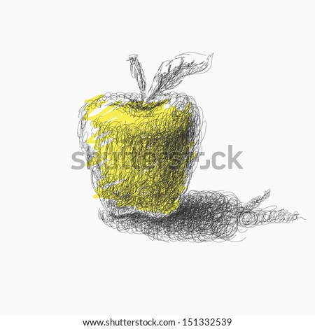 hand drawn apple. Vector eps8 - stock vector