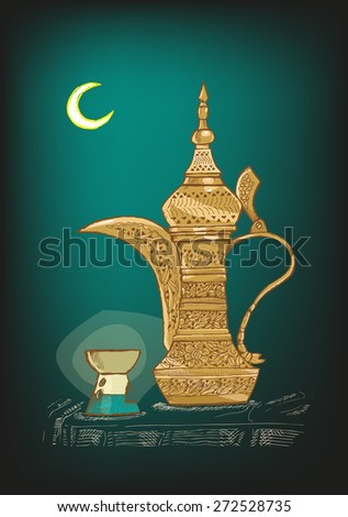 Hand Drawn Arabic Coffee Pot locally called Dallah used mostly in Gulf or Arab countries to serve khaleeji coffee. Shown are the Ramadan Crescent Moon and Candle light holder. Editable Vector EPS10. - stock vector