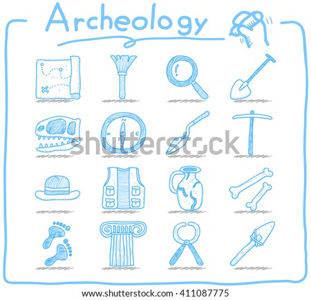Hand drawn Archeology icon set