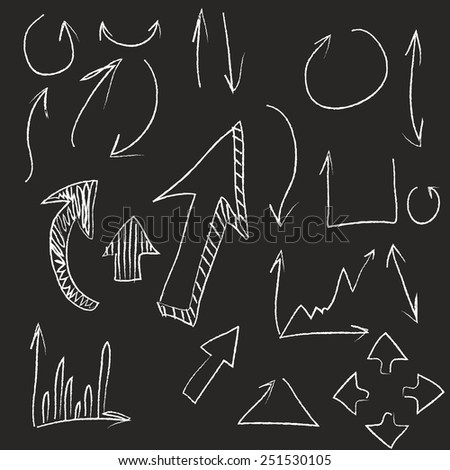 Hand Drawn arrow collection doodle - stock vector