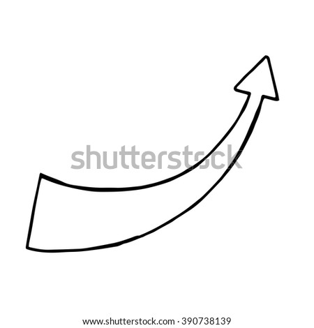 Hand drawn arrow, vector doodle object, isolated - stock vector
