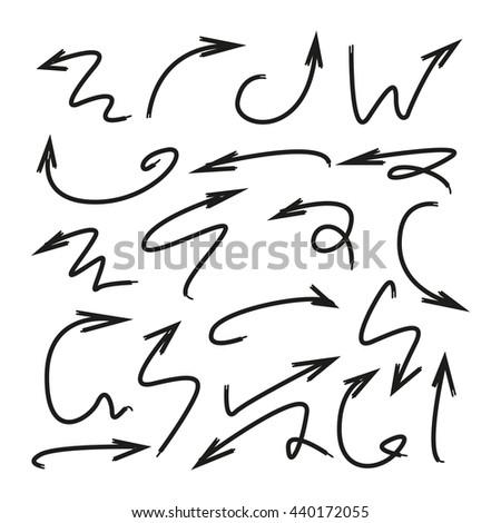 hand drawn arrows - stock vector