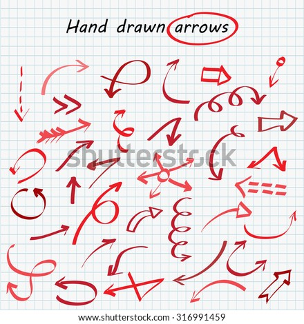 Hand drawn arrows.Arrows set.Vector illustration.