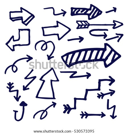 Hand drawn arrows doodle set isolated