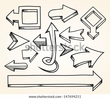 Hand drawn arrows. EPS8. - stock vector