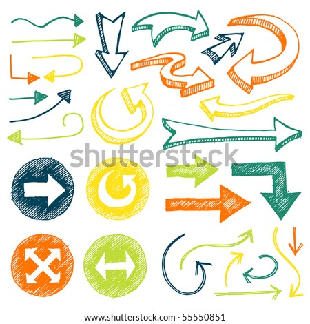 Hand drawn arrows in different shapes and colors. - stock vector