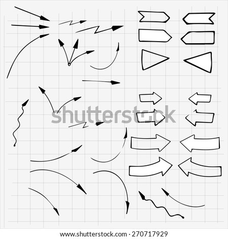 Hand drawn arrows made in vector. Use for business design element. - stock vector