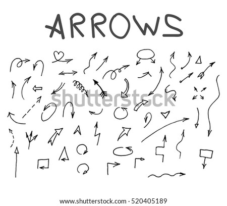 hand drawn arrows set.arrows set, sketched style