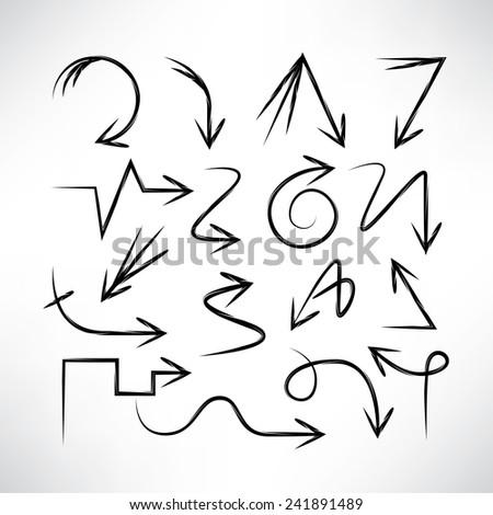 hand drawn arrows set, sketch arrow signs - stock vector