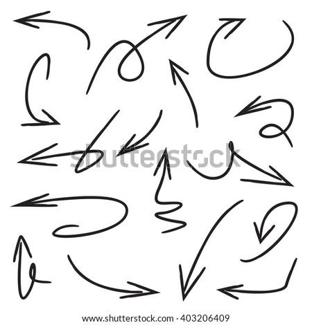 hand drawn arrows set vector illustration - stock vector