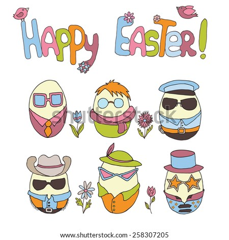 Hand-drawn art with cute easter eggs, flowers and birds on isolated background - stock vector