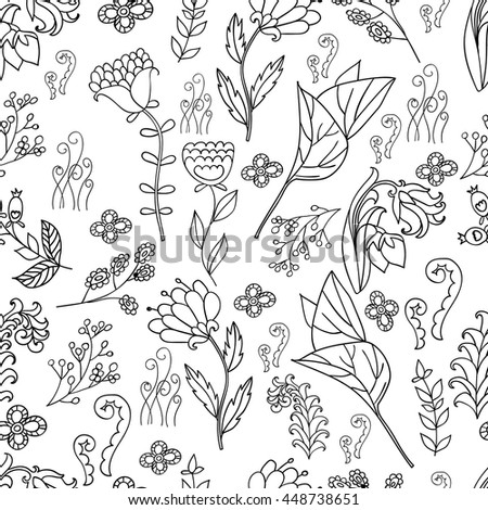 Hand drawn artistic ethnic ornamental patterned floral frame in doodle style for adult coloring pages. Vector spring illustration.seamless pattern. Black and white seamless botanic texture