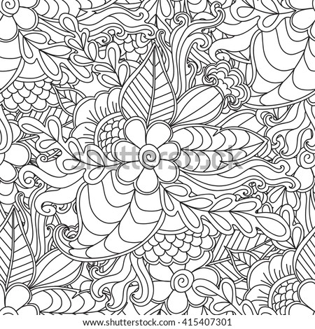 Hand drawn artistic ethnic ornamental patterned floral frame in doodle, zentangle style for adult coloring pages, t-shirt or prints. Vector spring illustration.seamless pattern - stock vector