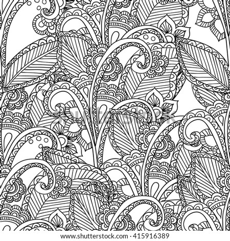 Hand drawn artistic ethnic ornamental patterned floral frame in doodle,zentangle style for adult coloring pages, t-shirt or prints. Vector spring illustration.seamless pattern - stock vector