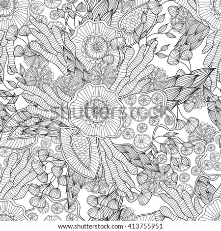 Hand drawn artistic ethnic ornamental patterned floral frame in doodles,zentangle style for adult coloring pages, t-shirt or prints. Vector spring illustration.seamless pattern - stock vector