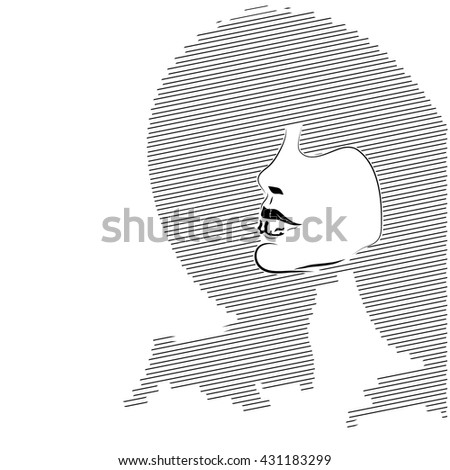 Hand drawn artistic flat young stylish girl in hat portrait. Silhouette of beautiful woman in a elegant hat. Woman silhouette isolated on white background. Glamour, beauty . - stock vector