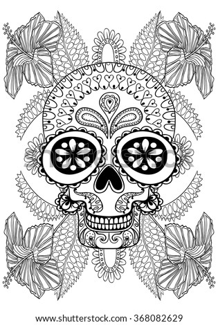 Hand drawn artistic Skull in flowers for adult coloring page A4 size in doodle, zentangle style, Mexican ethnic ornamental patterned print, monochrome sketch. Floral printable vector illustration. - stock vector