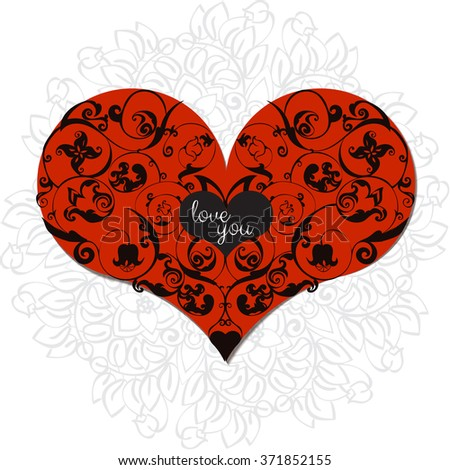 Hand drawn artistically ethnic ornamental patterned heart with romantic doodle elements of St. Valentine day, zentangle vector illustration for adult coloring book, pages, tattoo, t-shirt or prints. - stock vector