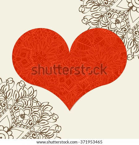 Hand drawn artistically ethnic ornamental patterned heart with romantic doodle elements of St. Valentine's day, zentangle vector illustration for adult coloring book, pages, tattoo, t-shirt or prints. - stock vector