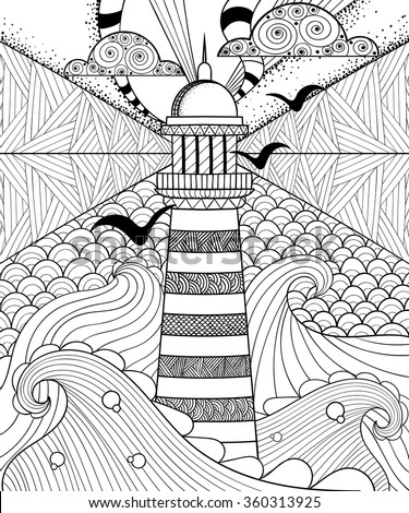 Hand drawn artistically ethnic ornamental patterned Lighthouse with clouds in doodle, zentangle tribal style for adult coloring book, pages, tattoo, t-shirt or prints. Sea vector illustration. - stock vector