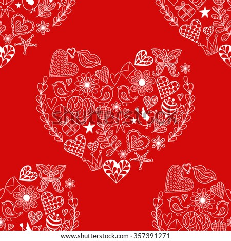 Hand drawn artistically ethnic ornamental seamless pattern with heart and romantic doodle elements of St. Valentine's day, zentangle vector illustration  for adult coloring  pages, t-shirt or prints. - stock vector